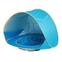tentes familiales livraison gratuite achat en gros de-La tente de plage d'enfants de bébé sautent l'abri UV de Sun de protection UV portative de piscine