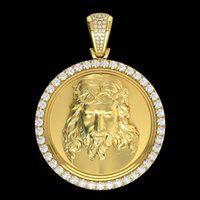 collar de los hombres colgantes al por mayor-Moda europea y americana 10K oro amarillo 4.12 ct diamante jesé cabeza collar colgante joyería de la personalidad de los hombres