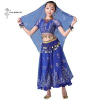 fantasia de dança do ventre azul real venda por atacado-Belly Dance traje menina Childern dança vestido de bollywood bellydance 8pcs / crianças Set Desempenho com moedas acessórios