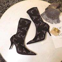 zapatos de vestir de satén negro al por mayor-Caliente de la venta-satinada las botas del tobillo de las mujeres Negro Martin puntas de los pies botas de cristal cuchillo botines zapatos de las mujeres del vestido del diseñador del tacón alto 8cm