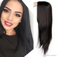 siyah beyaz karışık peruk toptan satış-Peruk Uzun Düz Sentetik Peruk Karışık Kahverengi ve Sarışın Uzun Peruk Beyaz / Siyah Kadınlar Orta Kısmı Doğa Peruk Ücretsiz kargo