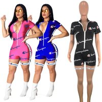 Wholesale xl club jumpsuits resale online – Champions Women Shorts Jumpsuits Summer Letter Print Short Sleeve Rompers Workout Fitness V neck Bodycon Night Club Bodysuit S XL A42204