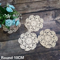 Wholesale crochet cup placemat resale online - 10CM Round Vintage Christmas Placemat Cotton Lace Crochet Doily Cup Mug Coffee Table Coaster Wedding Place Mat Cloth Decor Pad