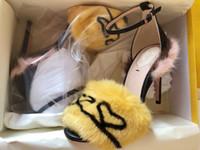 tacones de visón al por mayor-Venta caliente Diseño Nueva Marca zapatos de tacón alto mujer bien con agua de visón pelo pasarela zapatos mujeres sandalias de piel de moda de hadas rojo F