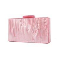 bolsa rosa pérola venda por atacado-Telastar mulheres sacos Acrílico Saco Pearl Pink Make Up Box espelho dentro Evening Handbag Acrílico Clutch Bag Designer de Luxo Marca