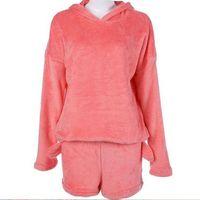 ingrosso indumenti da notte pigiami-Moda donna carino gatto manica lunga calda felpa con cappuccio top pantaloncini pigiameria pigiama set di abbigliamento caldo in pile corallo