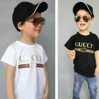 kız bebek kıyafeti tişört tasarımı toptan satış-Tasarım Yaz 3-7 Yaşında Bebek Erkek Kız Baskı T-Shirt R Gömlek Pamuk Çocuk Tees Çocuk Giyim Tops