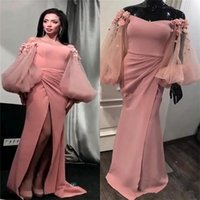 Wholesale pink blush dresses for sale - Group buy Sexy Blush Pink Mermaid Prom Dresses Off Shoulder Puffy Long Sleeves Plus Size D Floral High Split African Evening Gowns