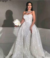 Wholesale country short strapless wedding dresses for sale - Group buy Glitter mermaid Style arabic wedding dresses with detachable train Strapless Sweetheart Full Sequins Plus Size Overskirt Country Bridal Gown