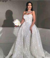 arabische moslemische meerjungfrau brautkleid großhandel-Glitter Mermaid Style Arabische Brautkleider mit abnehmbarem Schleppe Liebsten Liebsten Volle Pailletten Plus Size Überrock Country Bridal Gown