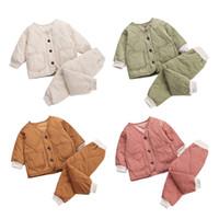 Wholesale 2pc girl tracksuit resale online - Solid Warm Coat Fashion Cute Infant Newborn Baby Girl Clothes Long Pants pc Outfit Cotton Baby Boys Tracksuit Set