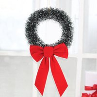 Wholesale diy round bows resale online - 30cm Festival Christmas Wreath With Bow Artificial Door Decoration Reusable Party Wall Hanging Office DIY Home Ornament Round