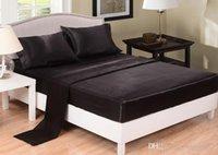schwarzes bettwäsche großhandel-Nachgeahmte Seidenbettwäsche Einfarbig Satin Bettlakenbezug Tagesdecke Twin Full Queen Size Grau Schwarz Weiß