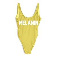 alçak parça mayo toptan satış-Drop Shipping Tek Parça Mayo MELANIN Mektup Baskılı Mayo Kadınlar Yüksek Kesim Düşük Geri Mayo Pembe Bodysuit Beachwear Kızlar Tulum
