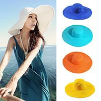 Wholesale large brim visors resale online - Seaside Sun Visor Hat Female Summer Sun Hats For Women large Brimmed Straw Sun Hat Folding Beach Girls MMA1485 pccs