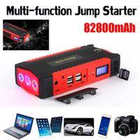 şarj cihazı atlama başlangıç toptan satış-Çok İşlevli Jump Starter 82800 mAh 12 V LCD 4USB Taşınabilir Araç Akü Şarj Güç Bankası Başlangıç Aygıtı