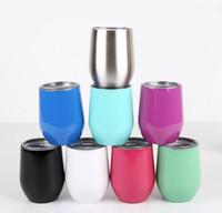 gelber kolben großhandel-Großhandel - heißer Verkauf Edelstahl Vakuumflasche kreative Eierschale Glas Rotweinglas
