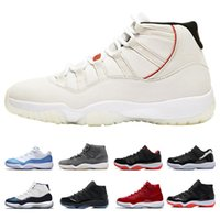 Wholesale 11 Platinum Tint Men Basketball Shoes Cap and Gown Prom Night Gym Red Bred s Barons Concord Grey Mens Sports Air Designer Sneakers