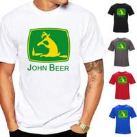 shorts de joão venda por atacado-John Beer Mens Designer de Camisetas 100% Algodão Preto Branco Cinza Vermelho Azul Moda Top Quality Camiseta de Manga Curta S-3XL