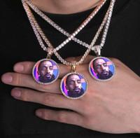 resimleri erkek kolyeleri toptan satış-Hip Hop Katı çekirdek Buzlu Out Özel Resim Kolye Kolye Erkekler Kadınlar Için Halat Zincir Charm Bling Takı ile