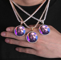 Wholesale core necklaces resale online - Hip Hop Solid core Iced Out Custom Picture Pendant Necklace with Rope Chain Charm Bling Jewelry For Men Women