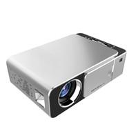 vga hdmi switch al por mayor-Proyector LCD T6 con pantalla de interruptor deslizante para protección de lentes, puertos USB HDMI VGA Proyectores de HD portátiles Beamer Home Media Player