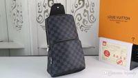 herren schulter reisetaschen großhandel-2019 neue schwarze Plaid AV. SCHULTERTASCHE D.GRAP. N41719 Reisetasche HERREN Umhängetasche N41612 Echtes Leder Brusttasche N41712