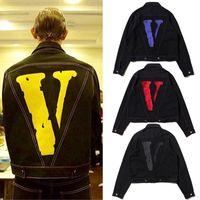jackets for embroidering al por mayor-VLONE Chaqueta De Mezclilla Bordada Hombres Estilo Punk Ripped Biker Chaqueta Hombres Mujeres Hip Hop Club Top Primavera Vlone Jean Chaquetas Abrigo XCG1010