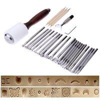Wholesale leather stamp sets resale online - 1 Set Stainless Steel Leather Carving Stamps Hammer Beveler Kit DIY Leathercraft Embossed Leather Hand Tools