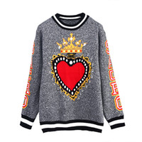 camisolas do natal venda por atacado-Runway Designer Cinza Coração Crown Imprimir Camisolas Das Mulheres Pullovers Harajuku Rua 2018 Inverno Camisola de Natal Roupas Jumper