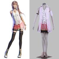 фэнтезийный мужской костюм оптовых-Игра Final Fantasy XIII FF13 Serah Farron Косплей костюмы Хэллоуин костюмы для женщин / мужчин взрослого может на заказ