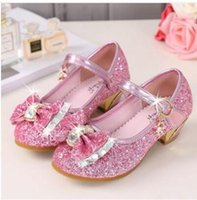 Wholesale cow girls dress for sale - Group buy 5Colors Children Princess Sandals Kids Girls Wedding Shoes High Heels Dress Shoes Bowtie Gold Shoes For Girls GB1161