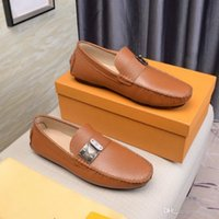 Wholesale business casual brown shoes resale online - Business men s leather comfortable casual size catwalk flat shoes factory direct