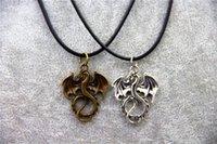 винтажные шармы подвески дракона оптовых-Мода ювелирные изделия старинные Шарм Хоббит 2 Огненный Дракон кулон ожерелье, оригинальные заводские поставки
