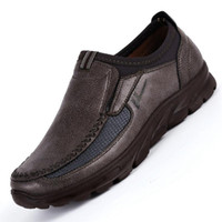 Wholesale grey formal shoes resale online - Classic Comfortable Men Casual Shoes Slip on Loafers Breathable Men Leather Summer Formal Shoes Male Flats Moccasins Big Size