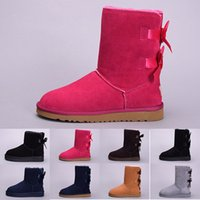 Wholesale orange canvas paintings resale online - 2019 Cheap winter Australia Classic snow Boots good fashion WGG tall boots real leather Bailey Bowknot women s bailey bow Knee Boots US