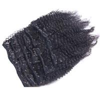 extensiones de cabello rizado rizado virgen al por mayor-7pcs / set 120g virginal mongol Afro Kinky Rizado Clip En Extensiones de Cabello Humano 120g clips en / en remy extensiones de cabello cabello negro natural