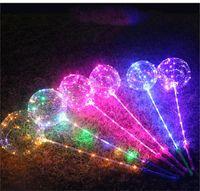 mini yılbaşı şapkası toptan satış-Bobo Topu Sopa kolu ile LED hattı Dalga Topu 3 M Dize Balonlar Yanıp Sönen light Up Noel Düğün Doğum Günü Ev Partisi Dekorasyon için DHL
