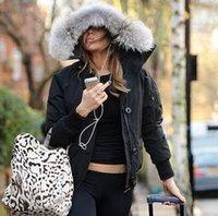kürklü kaput bombardımanı ceketi toptan satış-Kış Aşağı Kapüşonlu Ceket Kadın Bombacı Sıcak Ceket bombacı Kadın Tasarımcı gerçek kurt kürk Açık Ceketler Parkas Iyi Satış Yüksek kalite