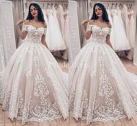 Wholesale plus size ball gowns wedding dresses online - 2019 Romantic Arabric Lace Wedding Dresses Off Shoulder Appliques Sweep Train Country Style Bridal Gown Plus Size Charming Vestidoe De Noiva