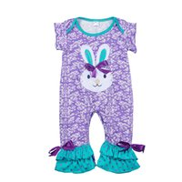 ingrosso corporeo viola-Vestiti popolari del cotone del modello del coniglietto del neonato del neonato dell'increspatura Ruffle dell'uccello popolare di Pasqua delle ragazze con l'arco