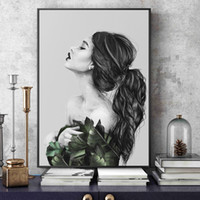 Wholesale removable paint for walls resale online - Nordic Black And White Beauty Canvas Painting Pictures Wall Pictures For Living Room Decor Removable Decor Wall Decals