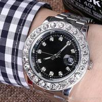 ingrosso bracciale watche-44mm Diamond Watche Relogio Masculino Mens Orologi Luxury Dress Designer Fashion Black Dial Calendario Bracciale in oro Chiusura pieghevole Master Maschio