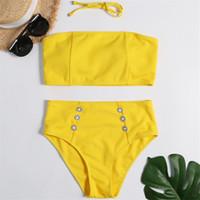 ingrosso swimwear giallo bikini-Costume da bagno a vita alta In-X Costume da bagno sexy senza spalline 2019 Costume da bagno a fascia Plus costumi da bagno donna Costume da bagno giallo Costume da bagno