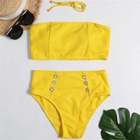 mais tamanho amarelo swimwear venda por atacado-In-X cintura alta swimsuit Strapless sexy biquíni 2019 bandeau biquíni conjunto Plus size swimwear mulheres maiô maiô amarelo
