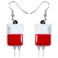 Wholesale cute bags teens resale online - Acrylic Halloween Novelty Blood Plasma Bag Earrings Drop Dangle Fashion Cute Jewelry For Women Girls Teens Party Charms