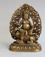 antike messing buddha-statue großhandel-Handwerk Kupfer Bronze Messing Messing Antiken Tibetischen Buddhismus Himmlischen könig Daming Wang Buddha statue dekoration Handwerk Dekoration