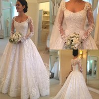 Wholesale white wedding dress plus size for sale - 2019 Latest Sale Scoop Neck A line Long Sleeve Lace Wedding Dresses Button Back Appliques Beaded Bridal Wedding Gowns