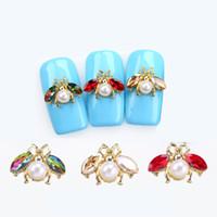 alaşım elmas taklidi diy dekorları toptan satış-10 adet / grup Japon 3D Arı Nail Art Süslemeleri DIY Kristal Glitter Çiviler Rhinestones Çiviler Sevimli Hayvanlar Tasarım Alaşım Tırnak Accessoires