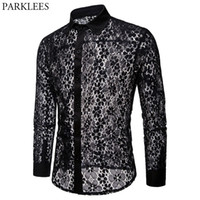 прозрачные рубашки оптовых- Floral Embroidery Lace Shirt Men 2018 Brand New Transparent Sexy Dress Shirts Mens See Trough Club Party Black Shirt Male